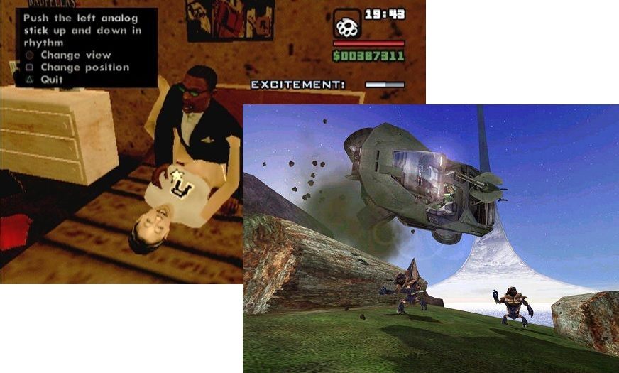 """Hot Coffee Mod"" (Grand Theft Auto: San Andreas (Rockstar 2004)) and warthog jumping (Halo (Bungie 2001))"