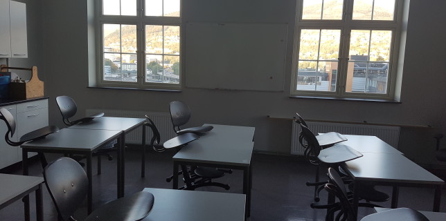 The classroom before being transformed to a waiting room for refugees.